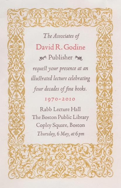 David R. Godine Celebrates Four Decades of Creating Fine and Beautiful Book