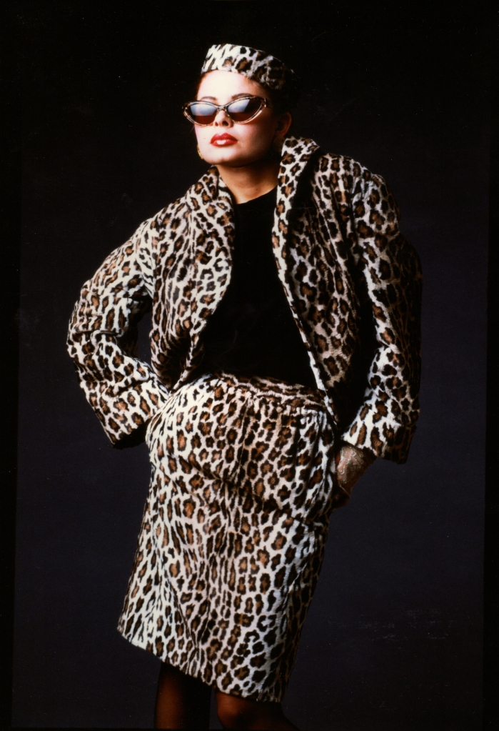 Kim Smith Designs Leopard Velvet Suit and Pill Box Hat