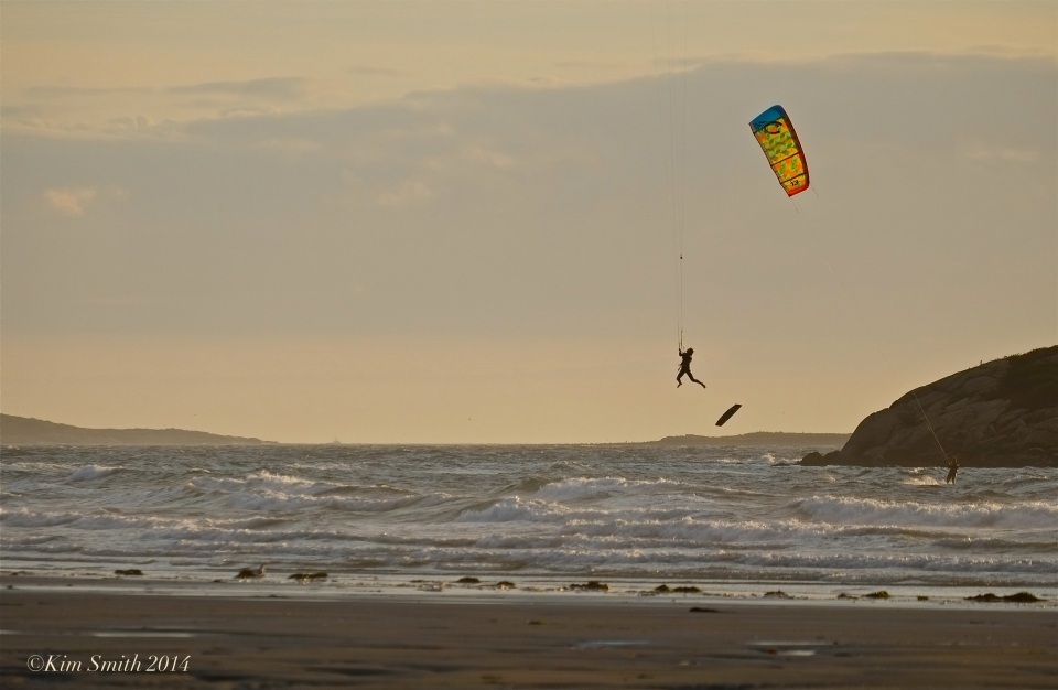 Kitesurfing Kiteboarding Good Harbor Beach Gloucester ©Kim Smith 2014