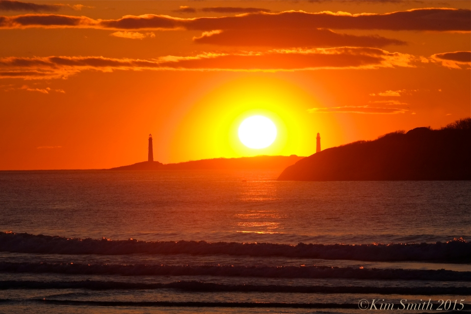 Twin Lights from Good Harbor Beach Sunrise 3 ©Kim Smith 2015