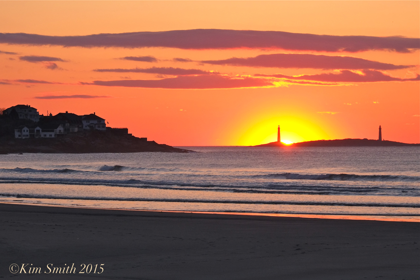 Twin Lights from Good Harbor Beach Sunrise -4 ©Kim Smith 2015