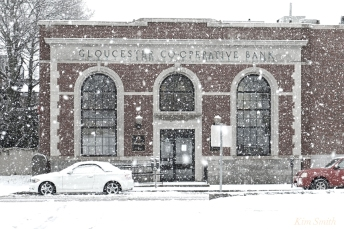 Gloucester Co-operative Bank Gloucester MA Snowy Day copyright Kim Smith