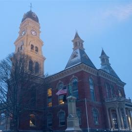 Gloucester Snowy Night City Hall copyright Kim Smith