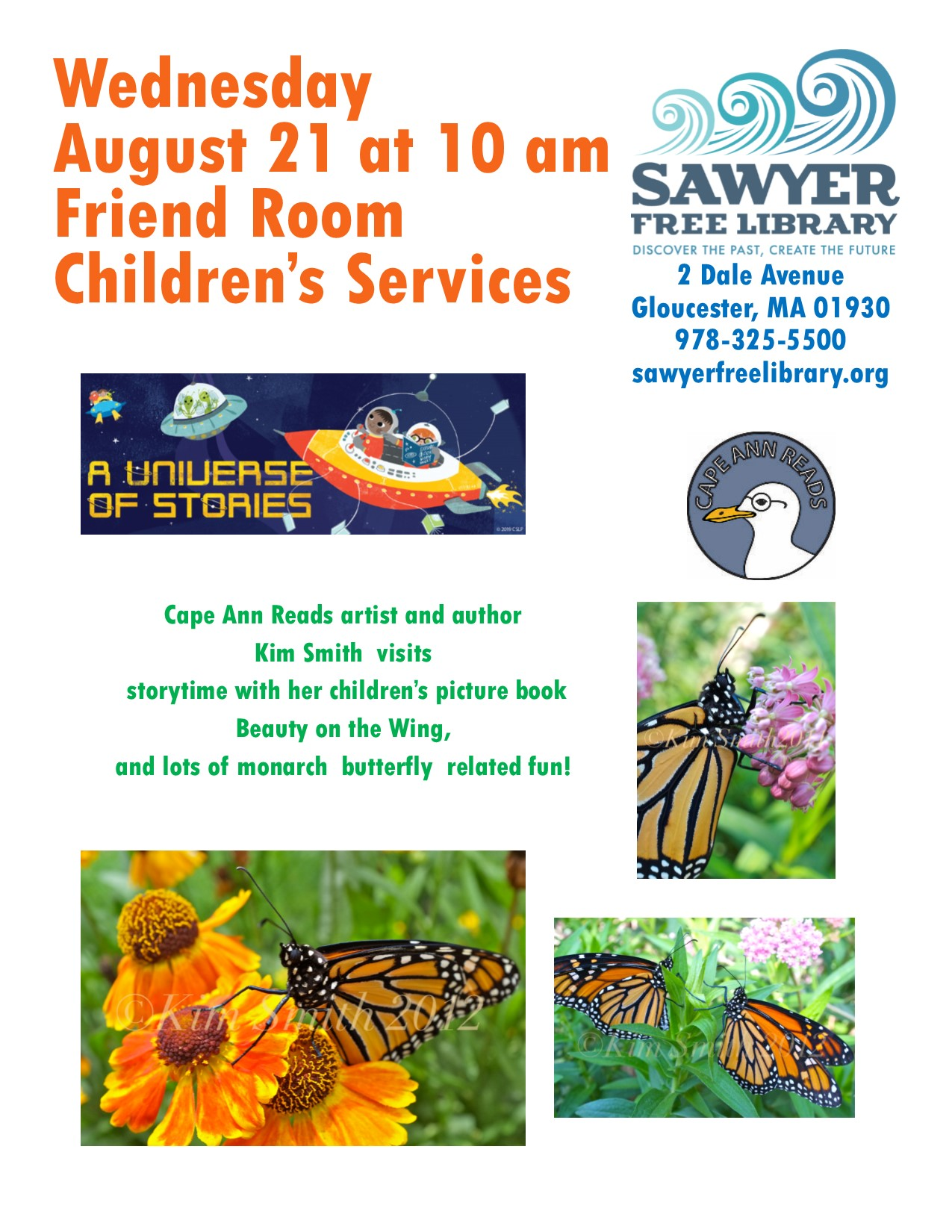 KIM SMITH FREE MONARCH EVENT FOR KIDS AT THE SAWYER FREE LIBRARY